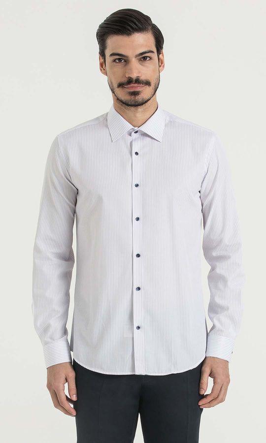 HATEMOĞLU - Çizgili Slim Fit Mavi Gömlek