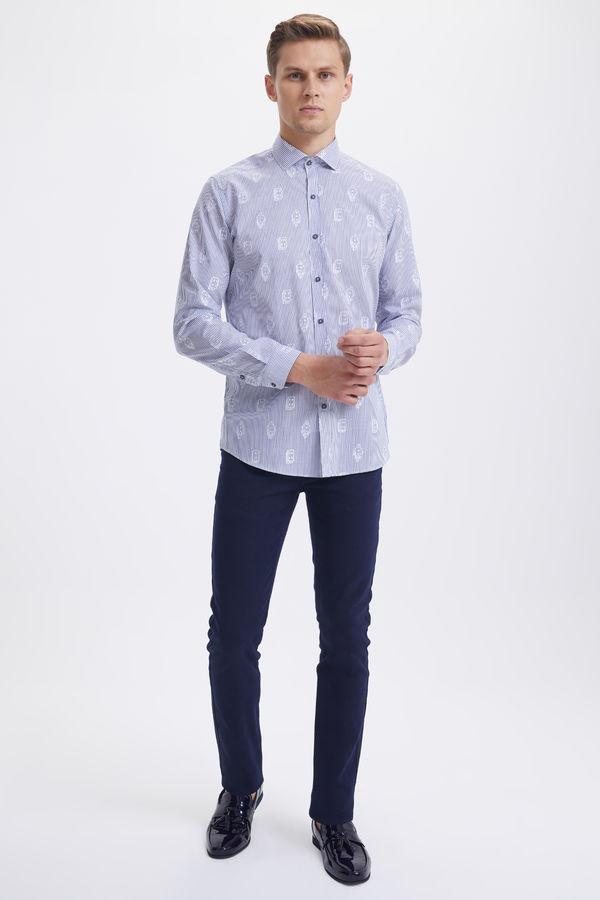 Hatem Saykı - Mavi Çizgili Slim Fit Gömlek (1)