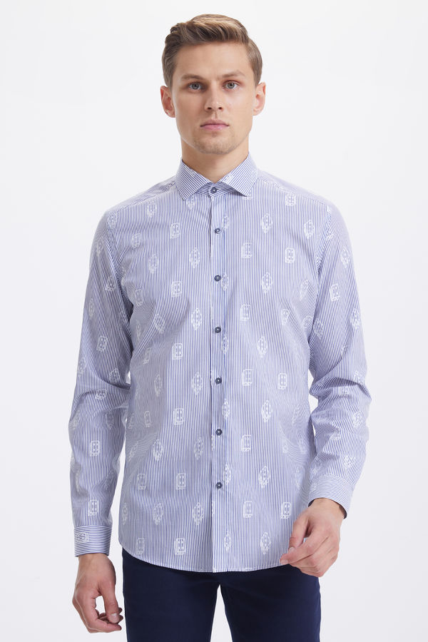 Hatem Saykı - Mavi Çizgili Slim Fit Gömlek