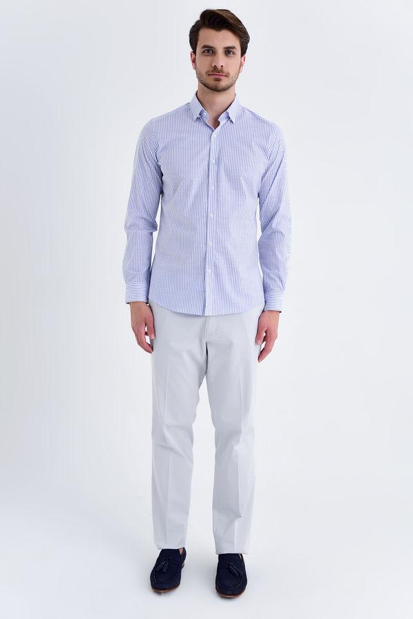 HATEM SAYKI - Mavi Çizgili Slim Fit Gömlek (1)
