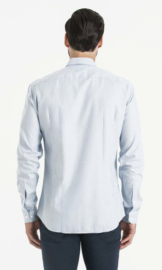 Çizgili Slim Fit Mavi Gömlek
