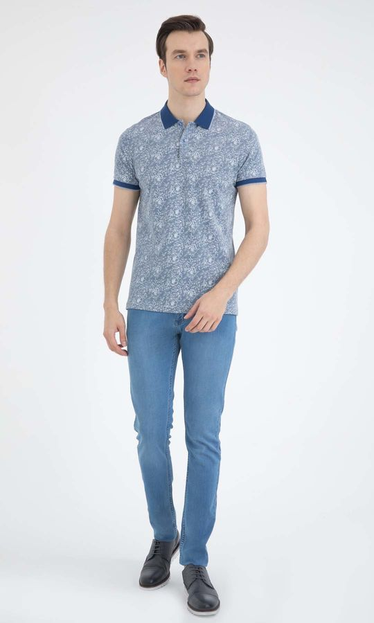 HTML - Mavi - Desenli Regular T-shirt (1)