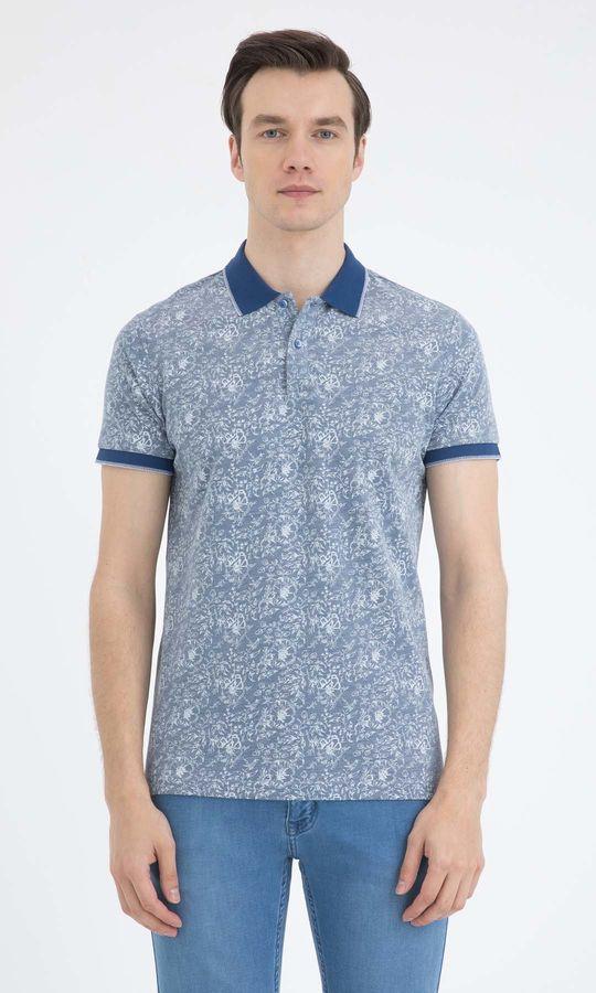 HTML - Mavi - Desenli Regular T-shirt