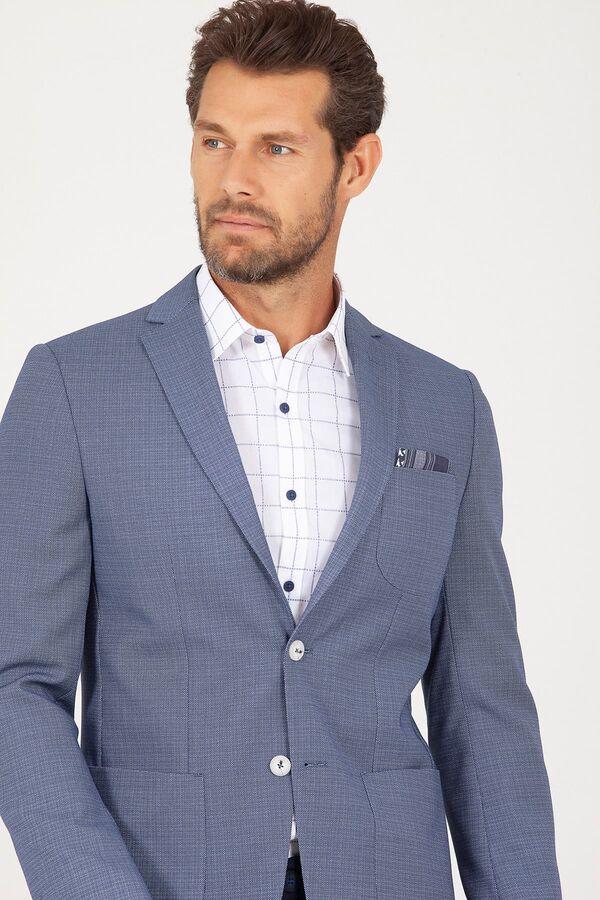 Mavi Slim Fit Desenli Ceket