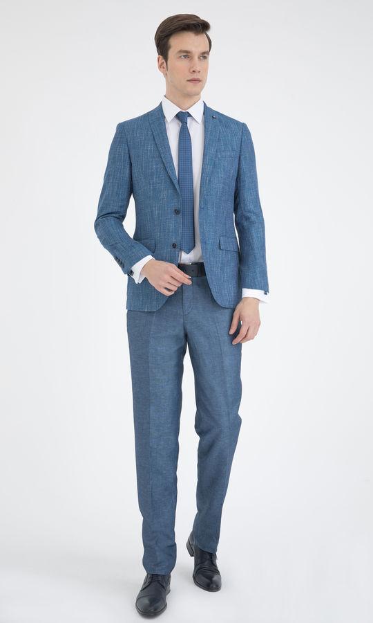 Hatemoğlu - Mavi Desenli Slim Fit Ceket (1)