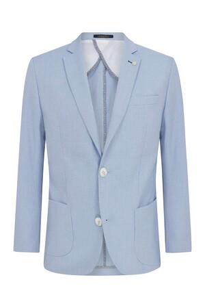 Hatemoğlu - Açık Mavi Desenli Slim Fit Ceket