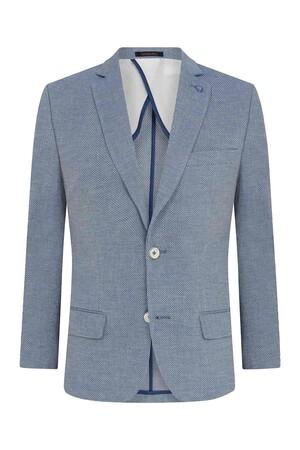 Hatemoğlu - Mavi Desenli Slim Fit Ceket