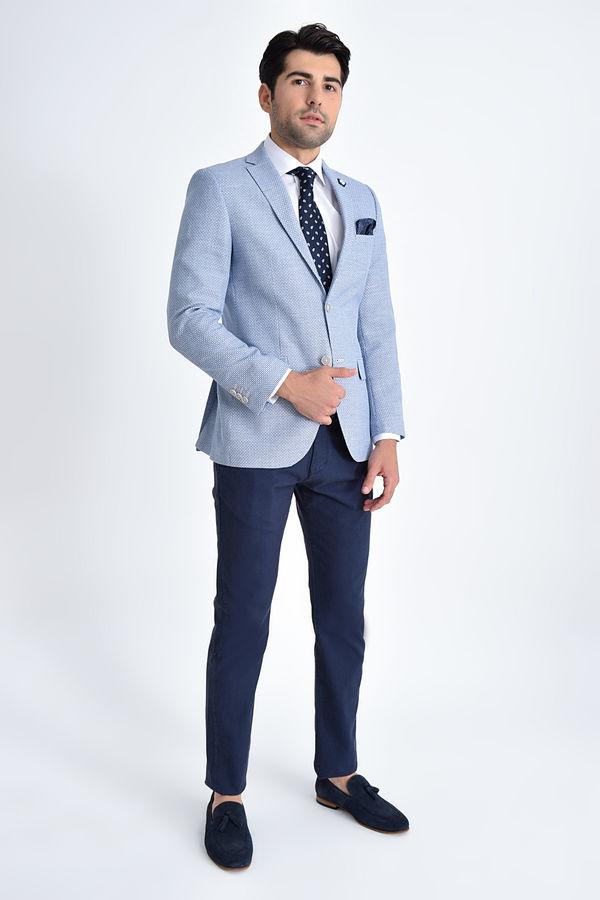 HTML - Mavi Desenli Slim Fit Ceket (1)