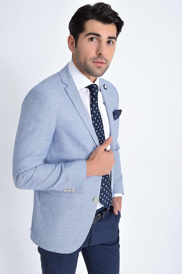 HTML - Mavi Desenli Slim Fit Ceket