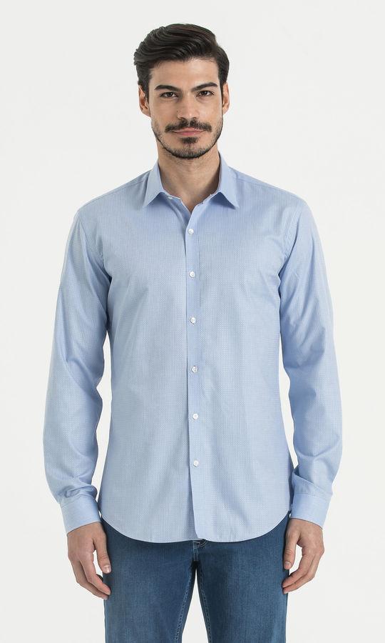 HATEM SAYKI - Desenli Slim Fit Mavi Gömlek