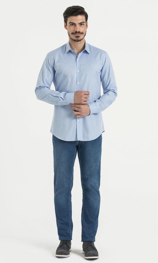 HATEM SAYKI - Desenli Slim Fit Mavi Gömlek (1)