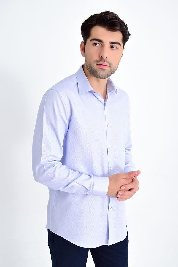 HATEM SAYKI - Mavi Desenli Slim Fit Gömlek
