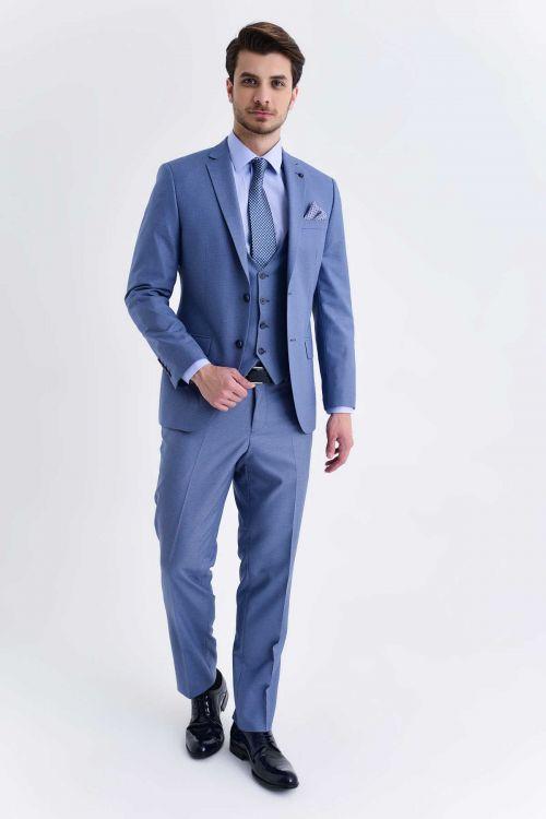 HATEMOĞLU - Mavi Desenli Slim Fit Takım Elbise (1)