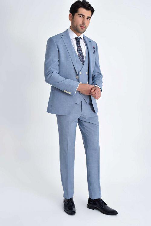 Hatem Saykı - Desenli Slim Fit Mavi Takım Elbise