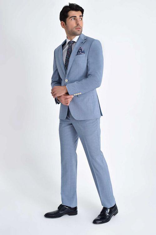 Hatem Saykı - Desenli Slim Fit Mavi Takım Elbise (1)
