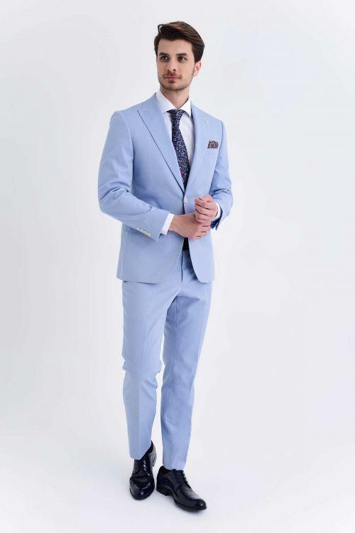 HATEM SAYKI - Mavi Desenli Slim Fit Takım Elbise