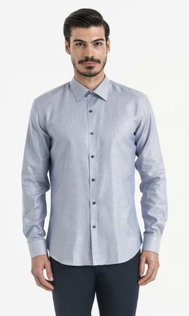 Hatem Saykı - Desenli Slim Fit Mavi Gömlek