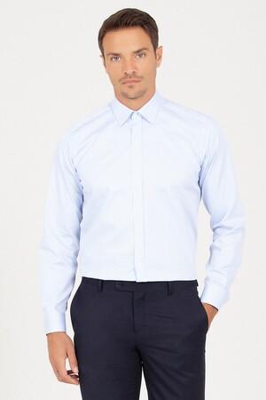 Hatem Saykı - Regular Fit Buz Mavisi Gömlek