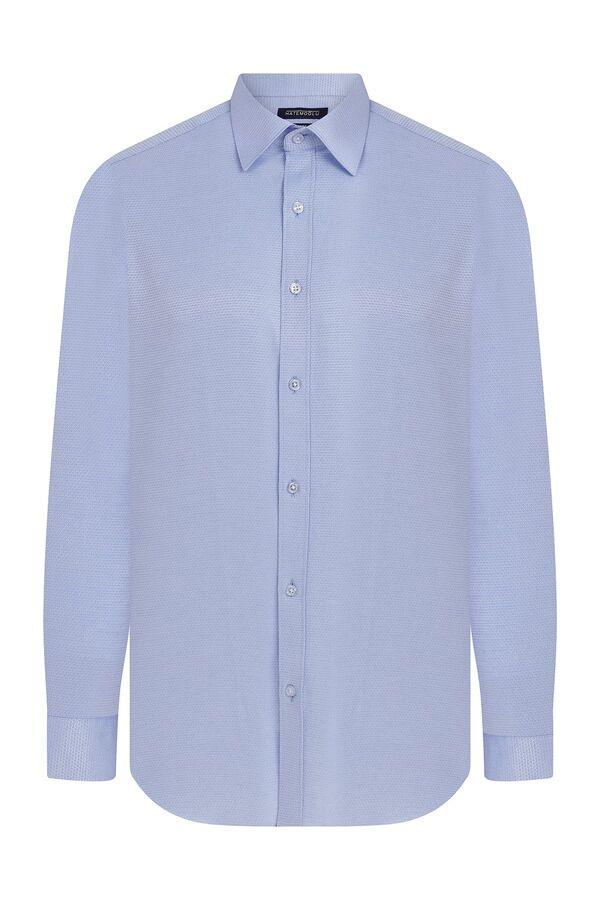 Slim Fit Armürlü Mavi Gömlek