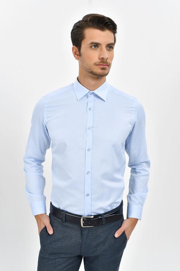 HATEMOĞLU - Mavi Desenli Slim Fit Gömlek