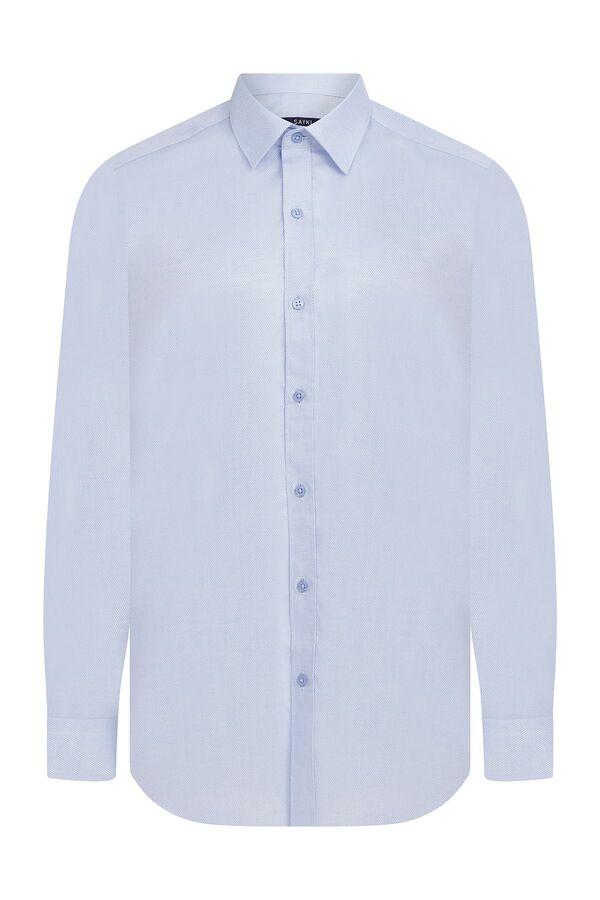 Hatem Saykı - Regular Fit Armürlü Mavi Gömlek