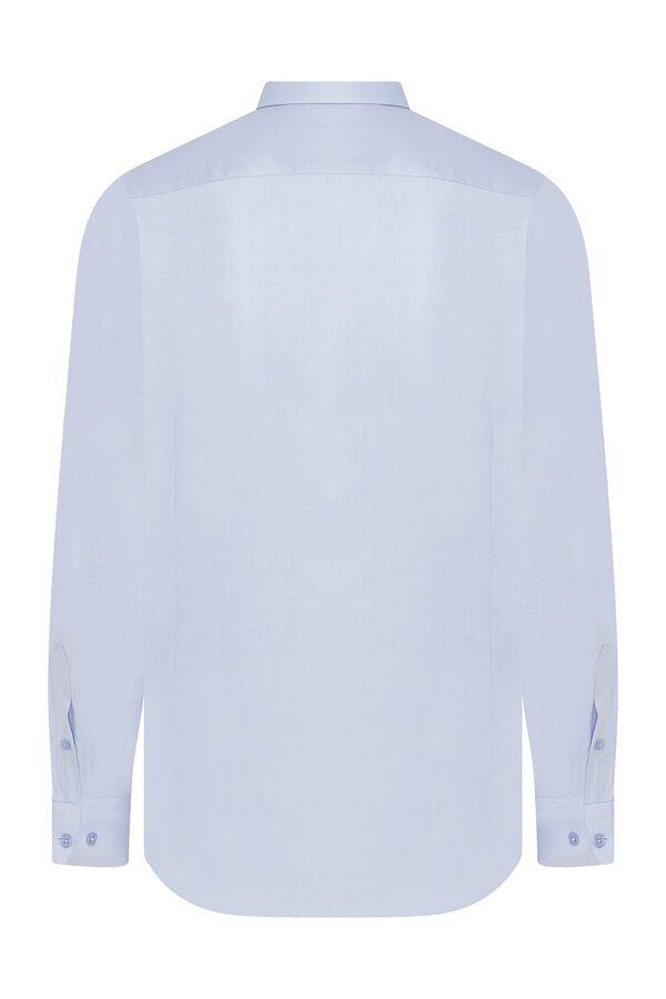 Hatem Saykı - Regular Fit Armürlü Mavi Gömlek (1)