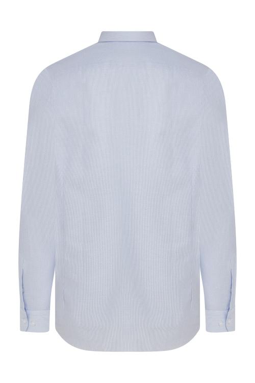 Hatem Saykı - Slim Fit Armürlü Mavi Gömlek (1)