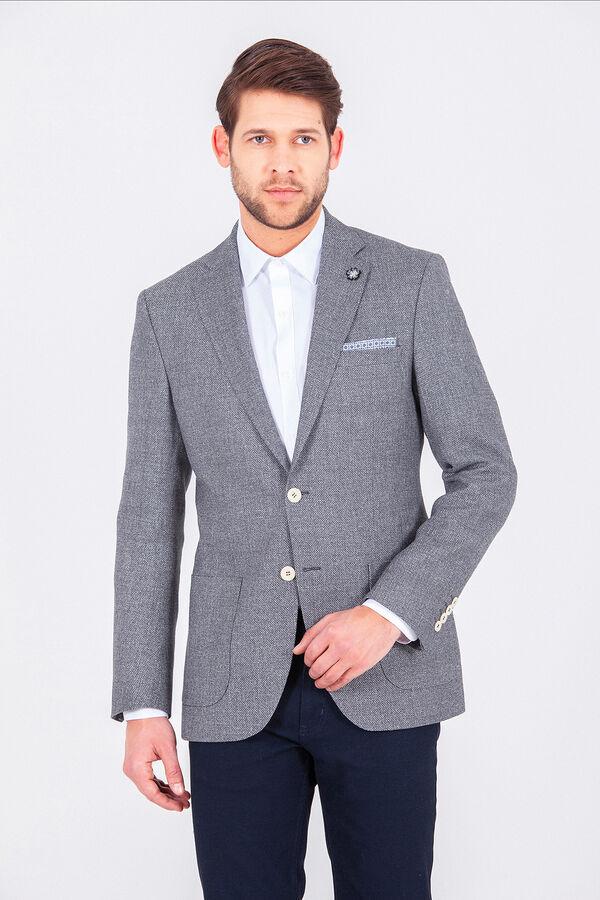 Hatem Saykı - Mavi Desenli Slim Fit Ceket