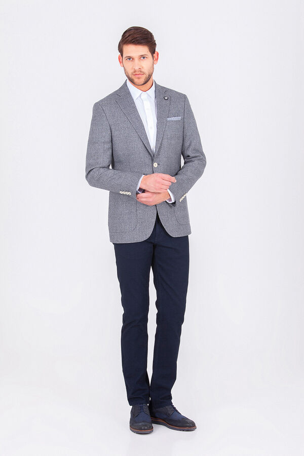 Hatem Saykı - Mavi Desenli Slim Fit Ceket (1)