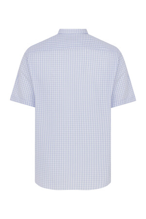 Hatemoğlu - Kısa Kol Mavi Kareli Klasik Gömlek (1)