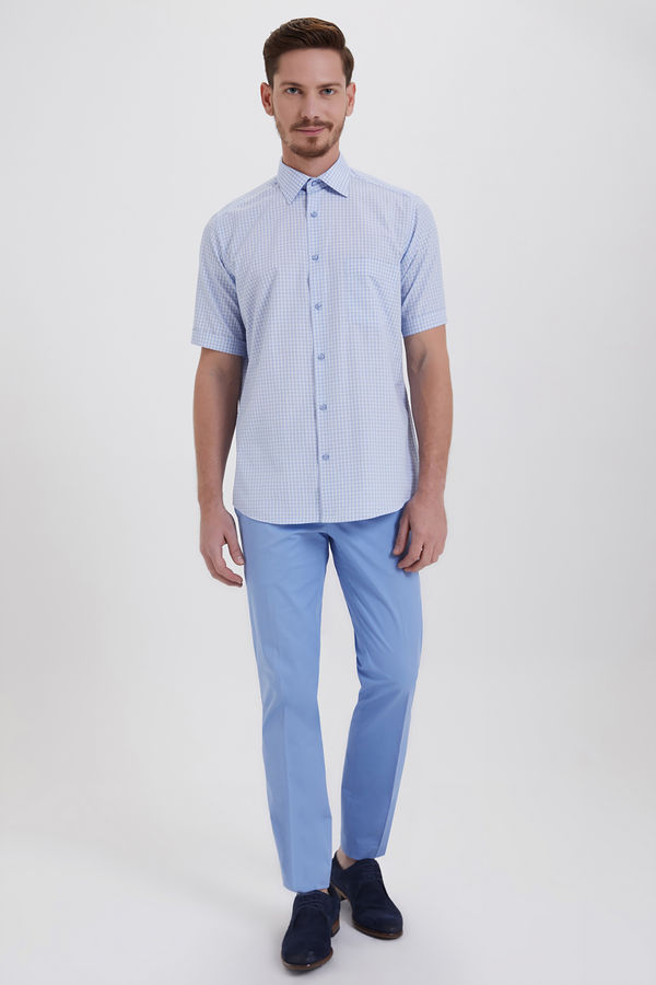 HATEMOĞLU - Mavi 2 Kareli Klasik Gömlek (1)