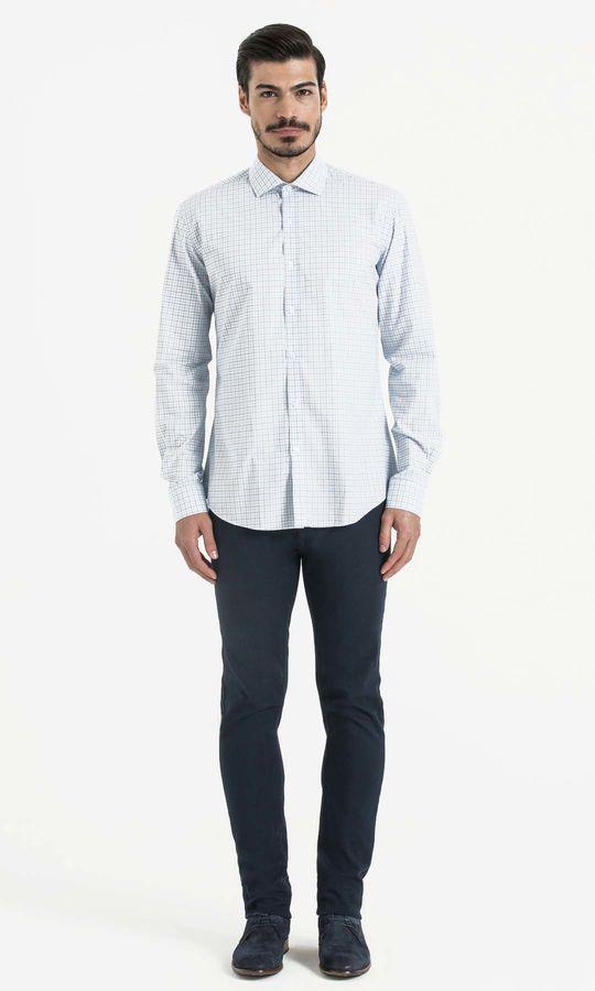 Hatem Saykı - Mavi Kareli Slim Fit Gömlek (1)