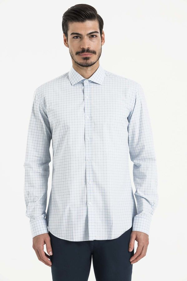 Hatem Saykı - Mavi Kareli Slim Fit Gömlek