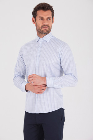 Hatemoğlu - Mavi Kareli Slim Fit Gömlek