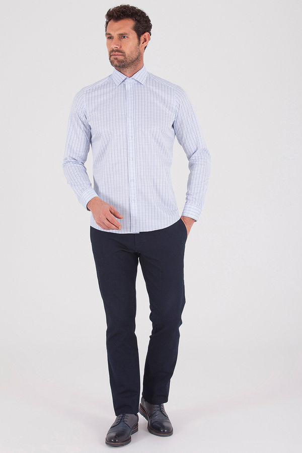Hatemoğlu - Mavi Kareli Slim Fit Gömlek (1)