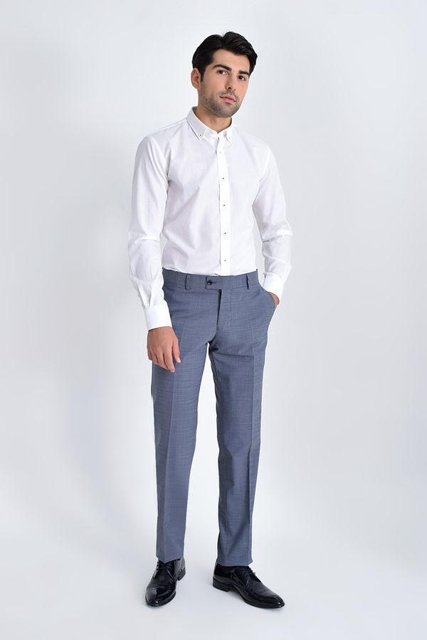HATEM SAYKI - Mavi Kazayağı Kazayağı Slim Fit Pantolon (1)
