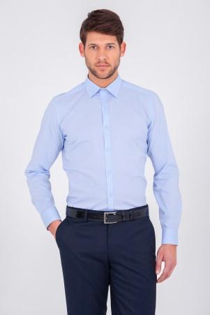 Mavi Slim Fit Gömlek - Thumbnail