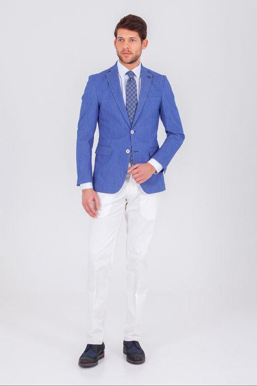 Hatem Saykı - Mavi Slim Fit Takım Elbise