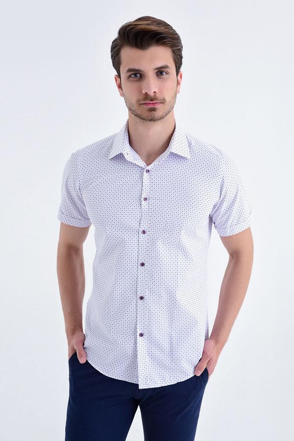 HATEMOĞLU - MOR Baskılı Slim Fit Gömlek