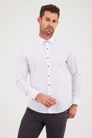 MOR Baskılı Slim Fit Gömlek - Thumbnail