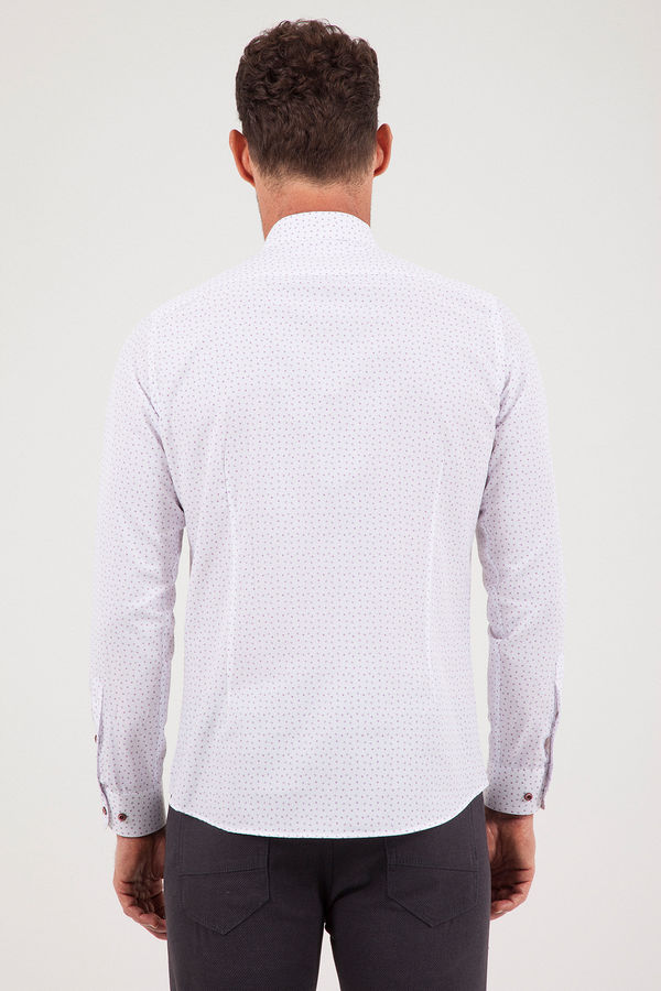 MOR Baskılı Slim Fit Gömlek