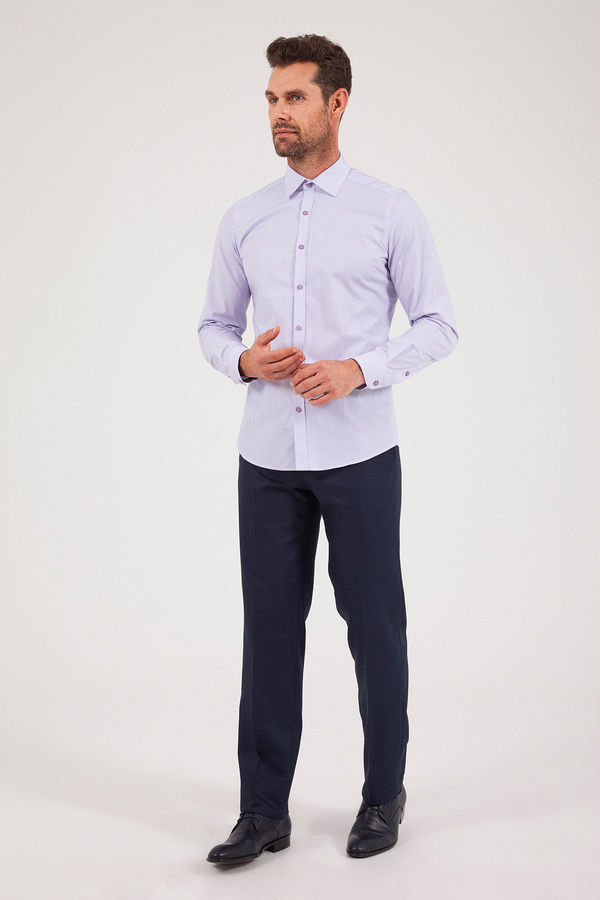 HATEM SAYKI - Mor Çizgili Slim Fit Gömlek (1)
