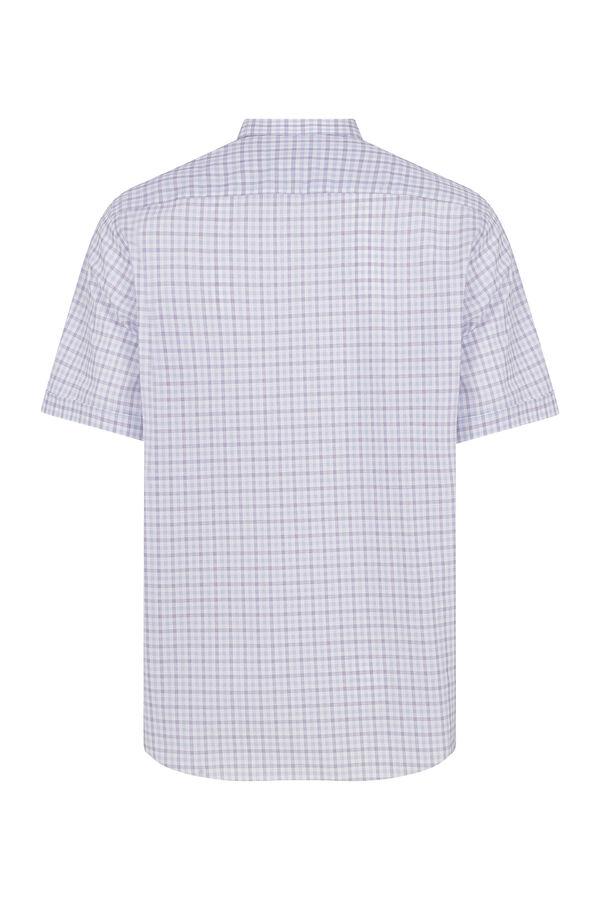 Hatemoğlu - Kısa Kol Mor Kareli Klasik Gömlek (1)
