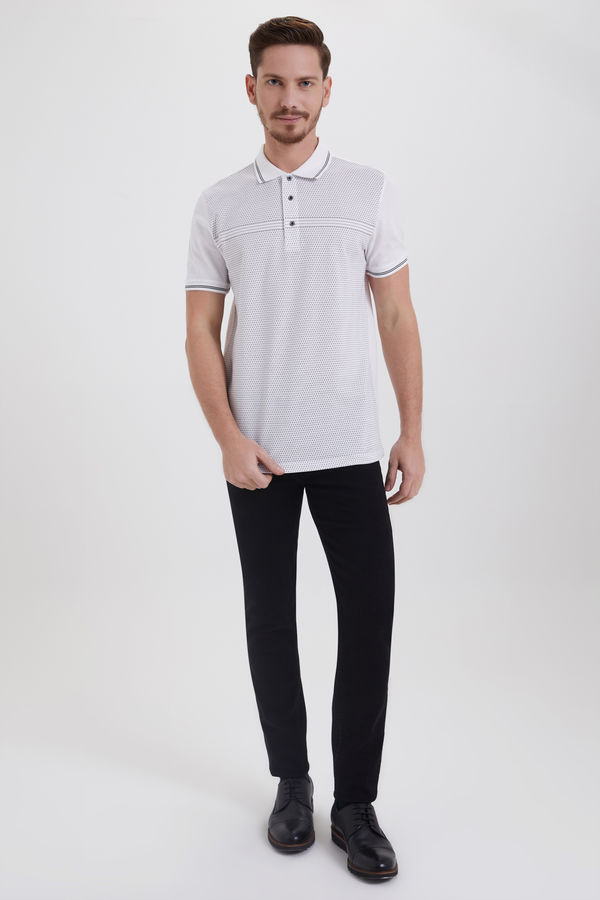 Hatemoğlu - Polo Yaka Baskılı Beyaz T-shirt (1)