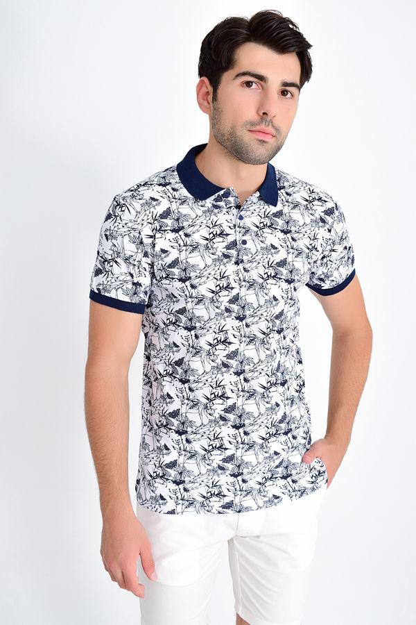 HTML - Polo Yaka Baskılı Beyaz T-shirt