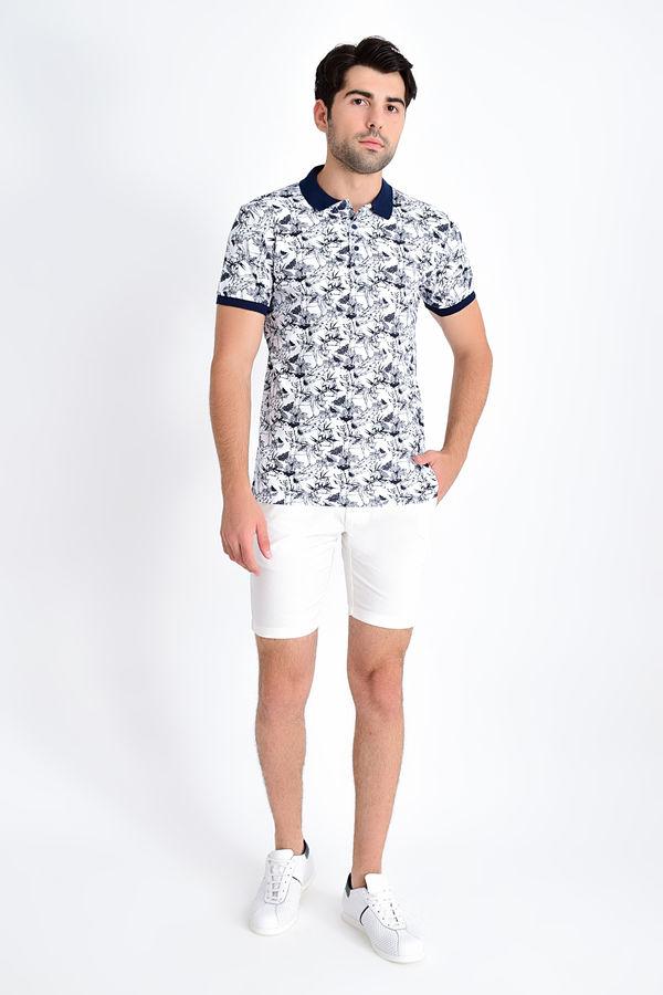 HTML - Polo Yaka Baskılı Beyaz T-shirt (1)
