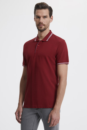 Hatemoğlu - Polo Yaka Bordo T-shirt