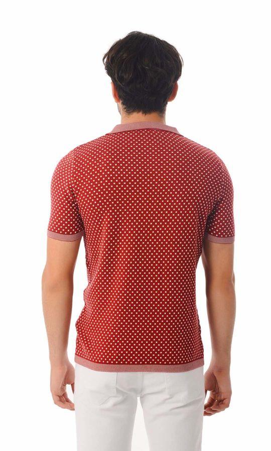 Hatem Saykı - Polo Yaka Bordo Triko T-shirt