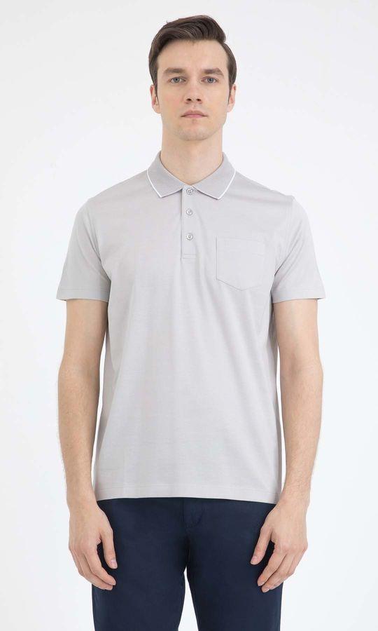 Hatemoğlu - Gri Polo Yaka Basic Tişört