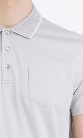 Gri Polo Yaka Basic Tişört - Thumbnail